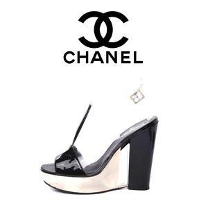 Authentic Chanel PVC Wedge Black/White